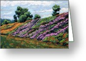 Purples Pastels Greeting Cards - Hillside Greeting Card by Mary Jane Erard