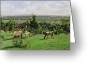 Cattle Greeting Cards - Hillside of Vesinet Greeting Card by Camille Pissarro