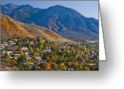 Foothill Greeting Cards - Hillside Suburban Homes Greeting Card by Thom Gourley/Flatbread Images, LLC