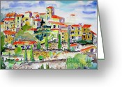 Ginette Fine Art Llc Ginette Callaway Greeting Cards - Hillside Village In Provence Greeting Card by Ginette Fine Art LLC Ginette Callaway