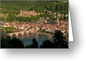 Clock Greeting Cards - Hilltop View - Heidelberg Castle Greeting Card by Greg Dale