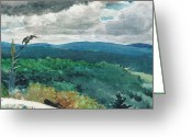 Homer Greeting Cards - Hilly Landscape Greeting Card by Winslow Homer