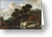 Van Painting Greeting Cards - Hilly Landscape with a Watermill Greeting Card by Jacob Isaaksz Ruisdael