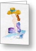 South Seas Greeting Cards - Hilo Hattie Fashionista Greeting Card by Pat Katz