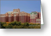 Chicago Landmarks Greeting Cards - Hilton Chicago and Blackstone Hotel Greeting Card by Christine Till
