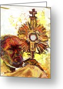 Adoration Greeting Cards - Him Greeting Card by James Thomas