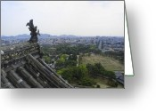 Gargoyle Greeting Cards - HIMEJI CITY from SHOGUNS CASTLE Greeting Card by Daniel Hagerman