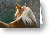 Equines Painting Greeting Cards - Hindsight Greeting Card by Simona Tarakeviciute