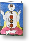 Psychic Greeting Cards - Hindu Chakras Wheels Greeting Card by Granger