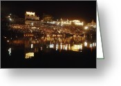 Sanctified Greeting Cards - Hindus Line The Ghat At Night To Float Greeting Card by James P. Blair