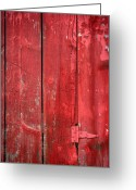 Red Barn Greeting Cards - Hinge on a Red Barn Greeting Card by Steve Gadomski