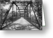 "\\\\\\\""boone County Photo Greeting Cards - Hinkson Creek Bridge in Black and White Greeting Card by Cricket Hackmann"