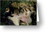 Lunch Greeting Cards - Hip Hip Hurrah Greeting Card by Peder Severin Kroyer