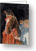 Horserace Greeting Cards - Hip No. 61 Chestnut Colt Greeting Card by Arline Wagner