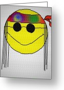 Bill Cannon Mixed Media Greeting Cards - Hippie Face Greeting Card by Bill Cannon