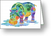 Hippopotamus Tapestries Textiles Greeting Cards - Hippo Heaven Greeting Card by Jo Lynch