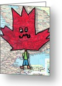 Flag Drawings Greeting Cards - Hipster Maple Leaf Greeting Card by Jera Sky