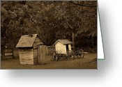Vintage Outhouse Greeting Cards - His and Hers Greeting Card by Scott Hovind