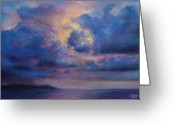 Ocean Landscape Pastels Greeting Cards - His Glory Greeting Card by Susan Jenkins