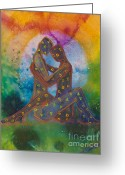 Purple Greeting Cards - His Loves Embrace Greeting Card by Ilisa  Millermoon