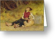 Tired Greeting Cards - His Only Friend Greeting Card by Briton Riviere