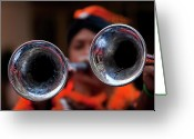 Ethnic Greeting Cards - Hispanic Columbus Day Parade NYC 11 9 11 Horn Players Greeting Card by Robert Ullmann