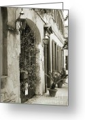 Historic Greeting Cards - Historic Home Wrought Iron Gate Charleston Sepia Greeting Card by Dustin K Ryan