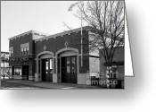 Fire Houses Greeting Cards - Historic Niles District in California Near Fremont . Niles Fire Station Number 2 . 7D10732 . bw Greeting Card by Wingsdomain Art and Photography