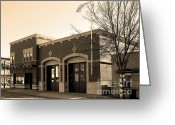 Fire Houses Greeting Cards - Historic Niles District in California Near Fremont . Niles Fire Station Number 2 . 7D10732 . sepia Greeting Card by Wingsdomain Art and Photography