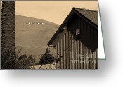 Hill Photographs Greeting Cards - Historic Niles District in California Near Fremont . Niles Letters From Niles Town Plaza . sepia Greeting Card by Wingsdomain Art and Photography