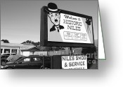 Welcome Signs Greeting Cards - Historic Niles District in California Near Fremont . Welcome To Niles Sign . 7D10603 . bw Greeting Card by Wingsdomain Art and Photography