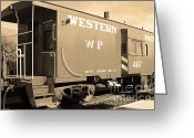 Old Caboose Greeting Cards - Historic Niles District in California Near Fremont . Western Pacific Caboose Train . 7D10627 . sepia Greeting Card by Wingsdomain Art and Photography