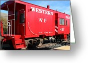 Old Caboose Greeting Cards - Historic Niles District in California Near Fremont . Western Pacific Caboose Train . 7D10627 Greeting Card by Wingsdomain Art and Photography
