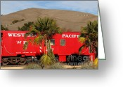 Old Caboose Greeting Cards - Historic Niles District in California Near Fremont . Western Pacific Caboose Train . 7D10718 Greeting Card by Wingsdomain Art and Photography