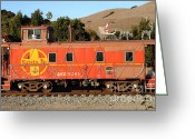 Old Caboose Greeting Cards - Historic Niles Trains in California . Old Sante Fe Caboose . 7D10832 Greeting Card by Wingsdomain Art and Photography