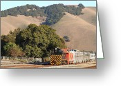 Old Caboose Greeting Cards - Historic Niles Trains in California . Old Southern Pacific Locomotive and Sante Fe Caboose . 7D10817 Greeting Card by Wingsdomain Art and Photography