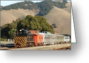 Old Caboose Greeting Cards - Historic Niles Trains in California . Old Southern Pacific Locomotive and Sante Fe Caboose . 7D10818 Greeting Card by Wingsdomain Art and Photography