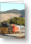 Old Caboose Greeting Cards - Historic Niles Trains in California . Old Southern Pacific Locomotive and Sante Fe Caboose . 7D10819 Greeting Card by Wingsdomain Art and Photography