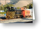 Old Caboose Greeting Cards - Historic Niles Trains in California . Old Southern Pacific Locomotive and Sante Fe Caboose . 7D10821 Greeting Card by Wingsdomain Art and Photography