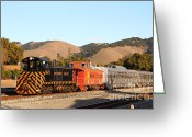 Old Caboose Greeting Cards - Historic Niles Trains in California . Old Southern Pacific Locomotive and Sante Fe Caboose . 7D10822 Greeting Card by Wingsdomain Art and Photography