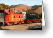Old Caboose Greeting Cards - Historic Niles Trains in California . Old Southern Pacific Locomotive and Sante Fe Caboose . 7D10843 Greeting Card by Wingsdomain Art and Photography