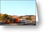 Old Caboose Greeting Cards - Historic Niles Trains in California . Old Southern Pacific Locomotive and Sante Fe Caboose . 7D10869 Greeting Card by Wingsdomain Art and Photography