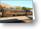 Old Caboose Greeting Cards - Historic Niles Trains in California . Old Western Pacific Passenger Train . 7D10836 Greeting Card by Wingsdomain Art and Photography