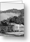 Old Caboose Greeting Cards - Historic Niles Trains in California . Southern Pacific Locomotive and Sante Fe Caboose.7D10819.bw Greeting Card by Wingsdomain Art and Photography