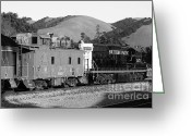Old Caboose Greeting Cards - Historic Niles Trains in California . Southern Pacific Locomotive and Sante Fe Caboose.7D10843.bw Greeting Card by Wingsdomain Art and Photography