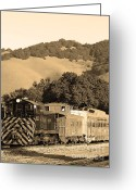 Old Caboose Greeting Cards - Historic Niles Trains in California.Southern Pacific Locomotive and Sante Fe Caboose.7D10819.sepia Greeting Card by Wingsdomain Art and Photography