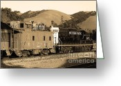 Old Caboose Greeting Cards - Historic Niles Trains in California.Southern Pacific Locomotive and Sante Fe Caboose.7D10843.sepia Greeting Card by Wingsdomain Art and Photography