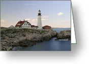 Fort Williams Park Photo Greeting Cards - Historic Portland Head Light Greeting Card by Juergen Roth