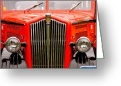 Glacier Greeting Cards - Historic Red Jammer Bus Glacier National Park Greeting Card by Karon Melillo DeVega