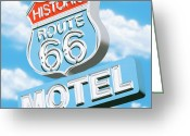 Neon Sign Greeting Cards - Historic Route 66 Motel Greeting Card by Anthony Ross